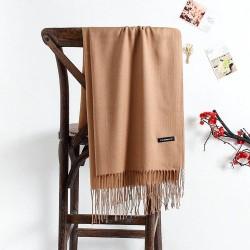 Grand foulard en cachemire à pompons
