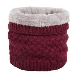 Warm round knitted scarf - unisex