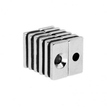 Imán de neodimio N35 bloque fuerte 20 * 10 * 4 mm con orificio de 4 mm - 10 piezas