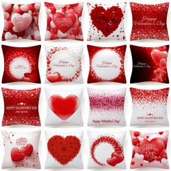 Corazones rojos - San Valentín - Funda de cojín - 45 * 45 cm