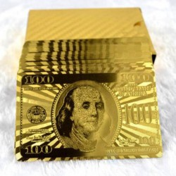 Plastic poker playing cards - 24K gold - dollars design