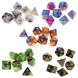 Polyhedral game dices - double-colors - for RPG / DND / MTG table game - 7 pieces