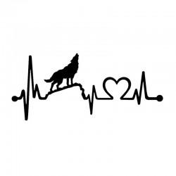 Fun howling wolf - heartbeat lifeline - car sticker