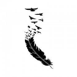 Feder mit fliegenden Vögeln - Vinyl Autoaufkleber