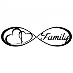 Family Forever & hearts - car sticker