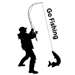 Go Fishing - Autoaufkleber - 9,2 * 15,2 cm