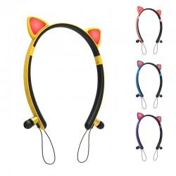 Bluetooth - drahtloses Headset - Mikrofon - In-Ear-Kopfhörer - LED leuchtende Katzenohren