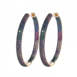 Pendientes de aro arcoíris - circonita cúbica