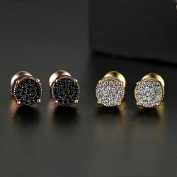 Shiny round stud earrings