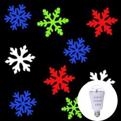 AC110-240V E27 4W - LED - motif flocons de neige - ampoule rotative - projecteur - lampe - RVB