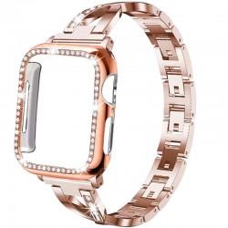 Correa de acero inoxidable y estuche protector con cristales para Apple Watch 5/4/3/2/1