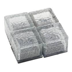 Piedra de vidrio - cubo de hielo - luz de jardín de cristal - lámpara de noche - solar - 4 piezas