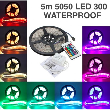 5m RGB  5050 Led Strip 300 Leds Waterbestendig Incl. Controller