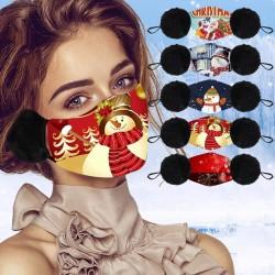 2 in 1 - Gesichts- / Mundmaske / Ohrenschützer - waschbar - Weihnachtsdruck