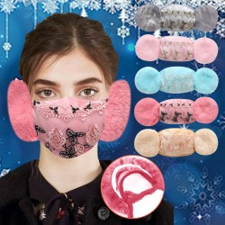 2 in 1 - face mask / earmuffs - floral lace print