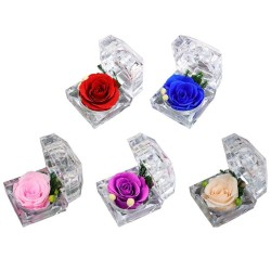 Preserved fresh rose - crystal jewellery box - wedding - Valentines day