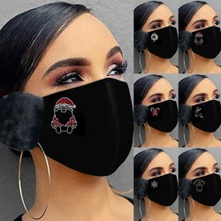 2 in 1 - Gesichts- / Mundmaske mit Ohrenschützern - Weihnachtsdruck