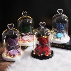 Preserved rose - lovely teddy bear - gift