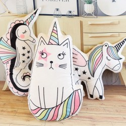 Almohada con forma de animales - gato - caballito de mar - unicornio - helado - peluche