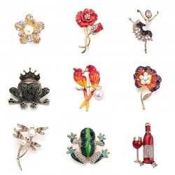 Lovebirds - dragonfly - frog - flower - brooches