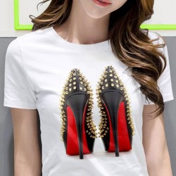 High heeled shoes - printed t-shirt - short sleeve