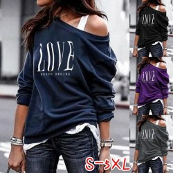 Sexy top - loose off-shoulders - long sleeve t-shirt - LOVE print