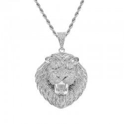 Iced Kopf des Kristall lion - luxuriöse Halskette - unisex