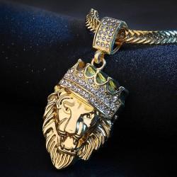 Gekrönter Löwenanhänger - goldene Halskette
