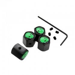 Edelstahl-Auto-Radventilkappen - grüne Aliens - 4 Stück