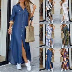 Long loose dress with buttons - denim / modern print