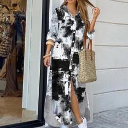 Long sleeve denim dress - multi colored