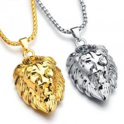 Steel lion head - pendant necklace