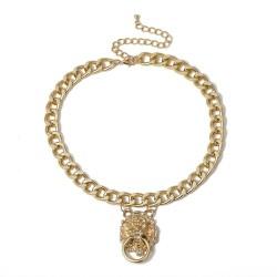 Hip-Hop-Kurzkette mit Löwenkopf - goldene Halskette
