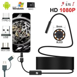 8,0 mm - USB-Endoskopkamera - 1080P HD - 8 LED - wasserdichtes Kabel - für Android / PC