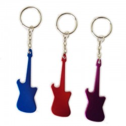 Bottle opener with keychain - metal guitar