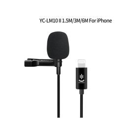YC-LM10 II - 1.5m - 3m - 6m - professional microphone Lavalier - cable for iPhone
