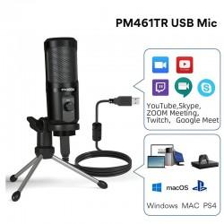 AU-PM461TR - USB-Mikrofonkondensator - Aufnahme - Online-Unterricht - Besprechungen - Live-Streaming - Spiele - mit Stativ