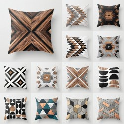 Wood / ethnic tribal pattern - cushion cover - polyester - 45 * 45cm