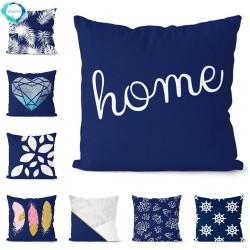 Navy blue geometric - pillowcase - cushion cover - cotton - 45 *45cm