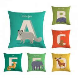 Animal alphabet - pillowcase - cushion cover - cotton - 45 *45cm