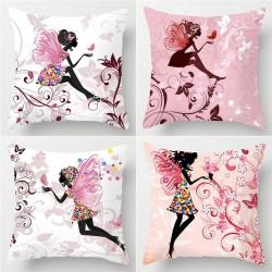 Pink flower fairy - pillowcase - cushion cover - cotton - 45 *45cm