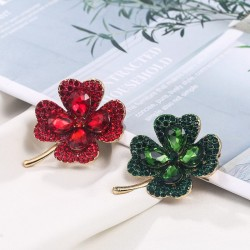 Green / red four leaf clover - crystal brooch