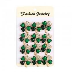 Vier kristallgrüne Blätter - Broschen - 12 Stück gesetzt