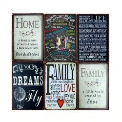 Family home rules & quotes metal sign poster