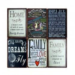 Family Home Rules & Quotes - Metallschild - Wandplakat