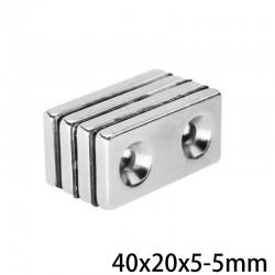 N35 neodymium magnet - double hole - 40*20*5