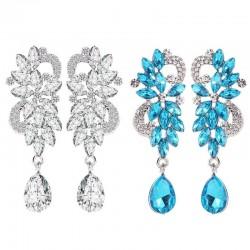 Rhinestone flower drop earrings for women