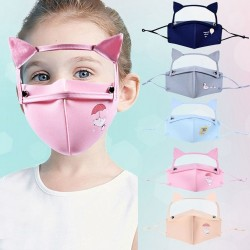 Mouth / face protective mask - detachable eye shield with cat ears - reusable - for kids