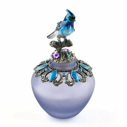 Vintage handgemachte Glasparfümflasche - nachfüllbar - blauer Vogel - 40ml