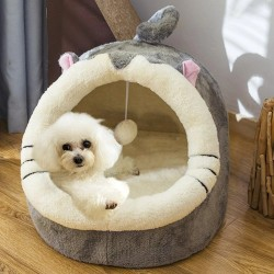 Dog / cat bed house - plush sleeping mat with hanging toy
